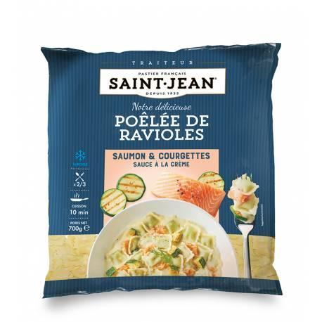 Achat de Poêlée de ravioles, Saumon & courgettes grillées, sauce à la crème -700g